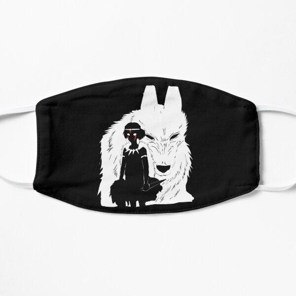 Ilustración de la princesa Mononoke y el lobo - Blanco y negro Mascarilla