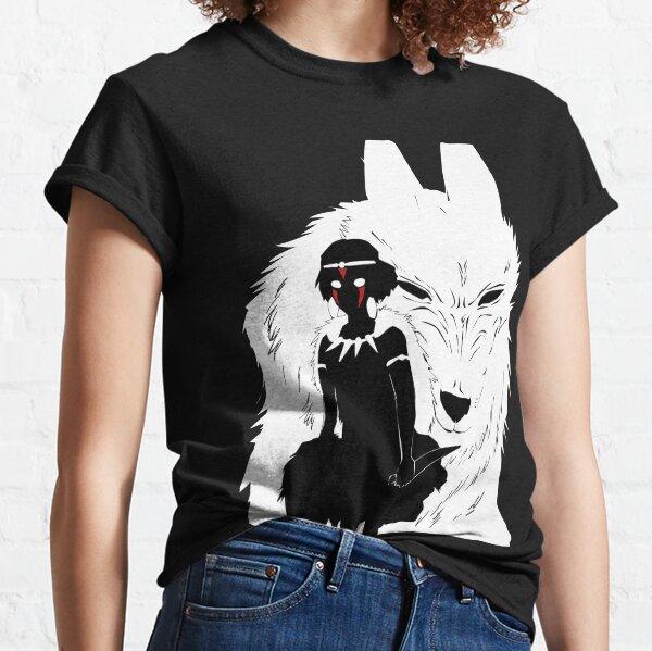 Illustration de la princesse Mononoke et du loup - noir et blanc T-shirt classique
