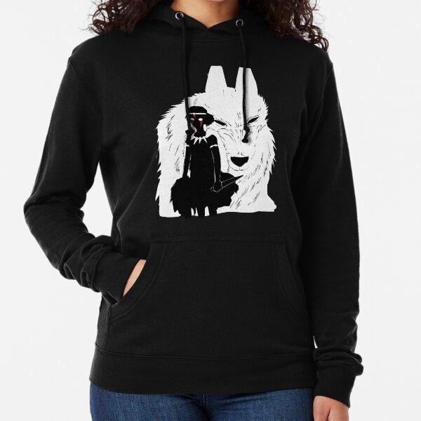 Illustration de la princesse Mononoke et du loup - noir et blanc Sweat à capuche léger