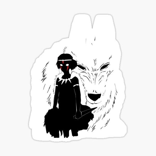 Illustration de la princesse Mononoke et du loup - noir et blanc Sticker