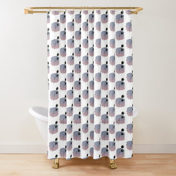 Pastel and Black Ink Tulip Shower Curtain
