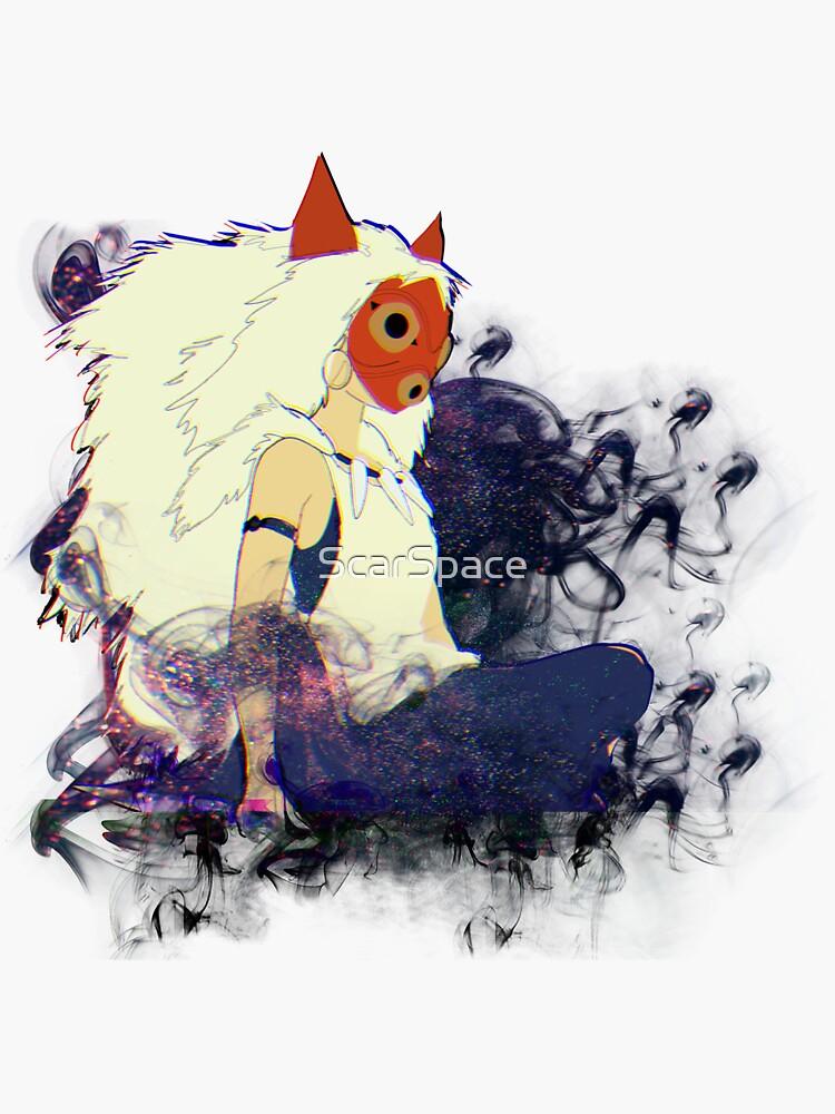 Masked Princess Mononoke Illustration - Smoke And Magical Fog by ScarSpace