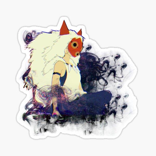 Illustration de la princesse masquée Mononoke - fumée et brouillard magique Sticker