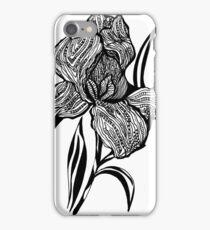 Single flower of Iris graphic illustartion iPhone Case/Skin