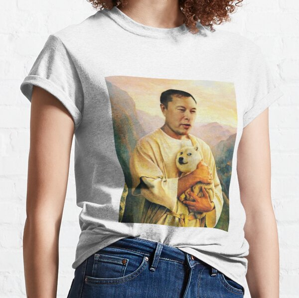 Dogecoin to the moon with elon musk  Classic T-Shirt