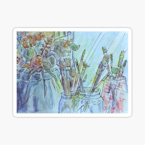 """Still life illustration - """"Brush and Plants"""" Sticker"""