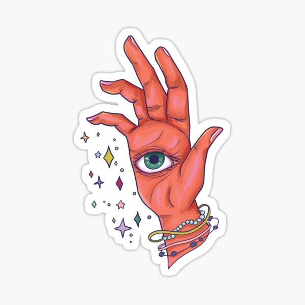 oeil magique paume lecture main Sticker fini brillant