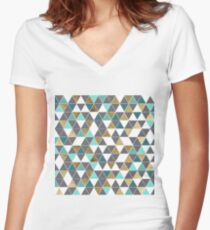 Modern Gray White Teal and Faux Gold Triangles Women's Fitted V-Neck T-Shirt