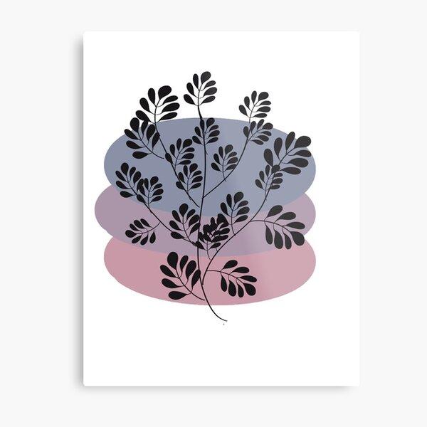 Black Pastel Leaf Print Metal Print