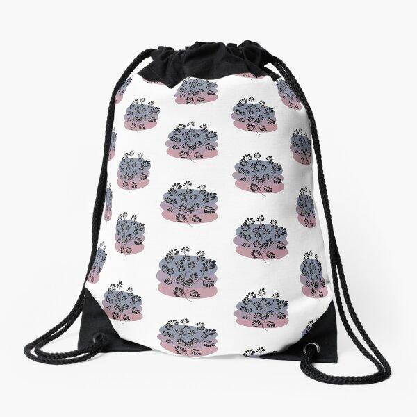 Black Pastel Leaf Print Drawstring Bag