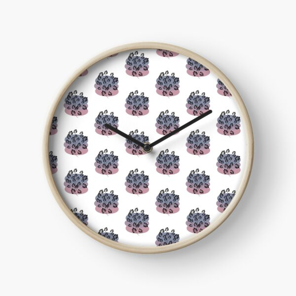 Black Pastel Leaf Print Clock