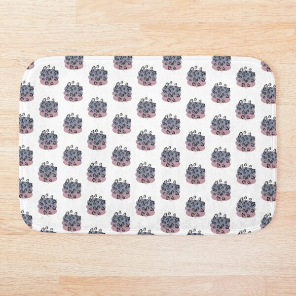 Black Pastel Leaf Print Bath Mat