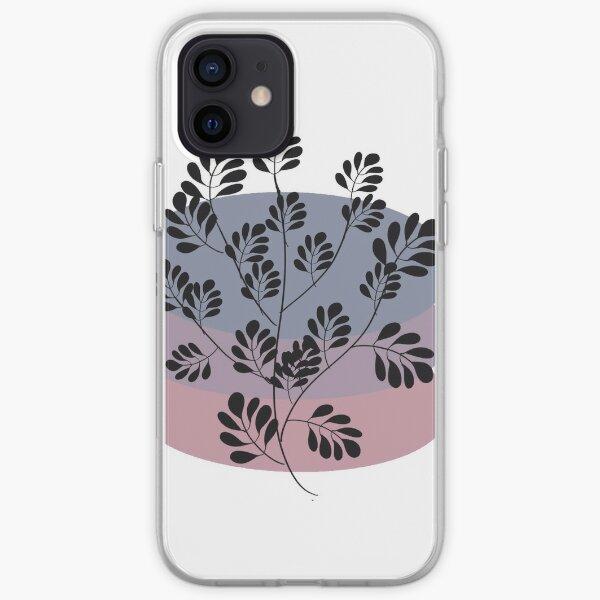 Black Pastel Leaf Print iPhone Soft Case