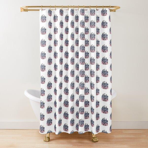 Black Pastel Leaf Print Shower Curtain