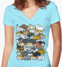 Neko Atsume Sleepy Kitties Women's Fitted V-Neck T-Shirt