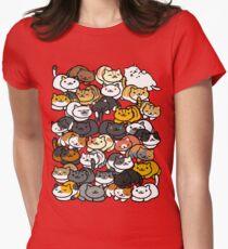 Neko Atsume Sleepy Kitties Womens Fitted T-Shirt