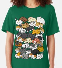Neko Atsume Sleepy Kitties Slim Fit T-Shirt