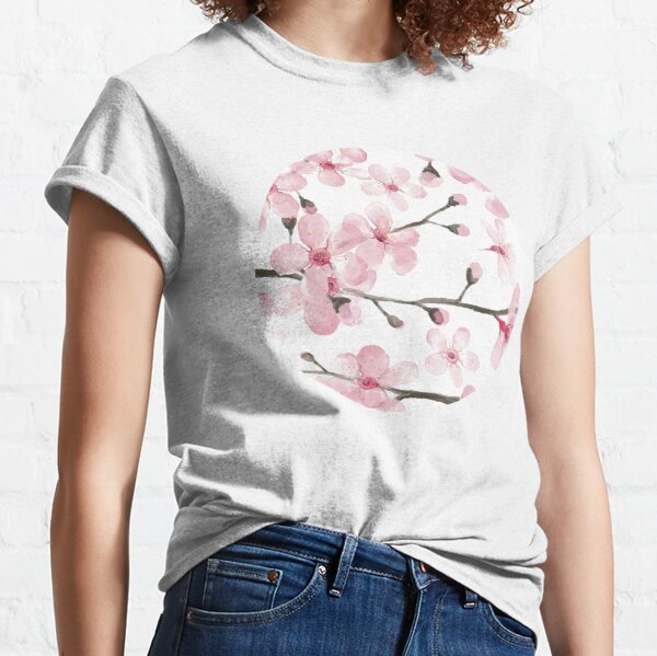 Cherry Blossom watercolor fashion and home decor by Magenta Rose Designs Classic T-Shirt