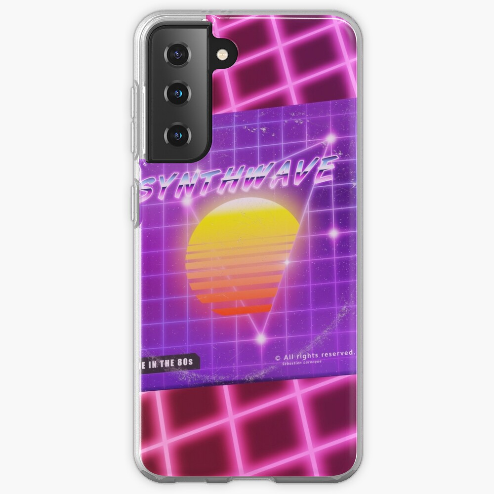 Synthwave music with vinyl disk Samsung Galaxy Phone Case