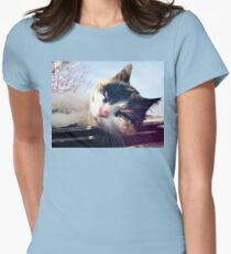 Lying cat Women's Fitted T-Shirt