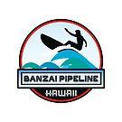 Surfing BANZAI PIPELINE OAHU HAWAII Surf Surfer Surfboard Waves Ocean Beach Vacation Stickers by MyHandmadeSigns
