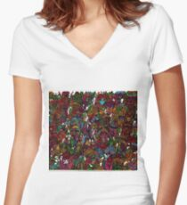 Psychedelic Cartoon Women's Fitted V-Neck T-Shirt