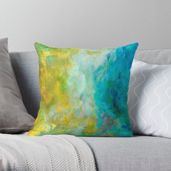 Abstract blue green wave Throw Pillow