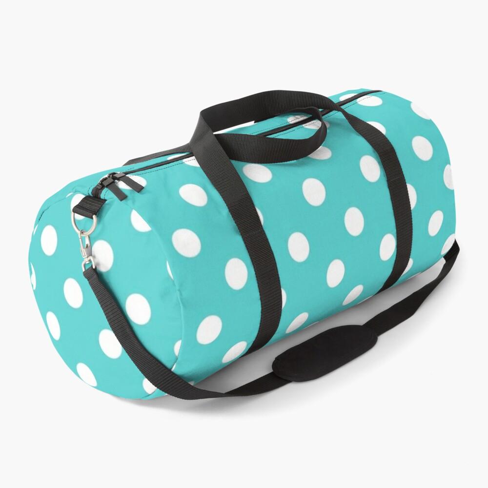 Aqua Polka Dots Duffle Bag