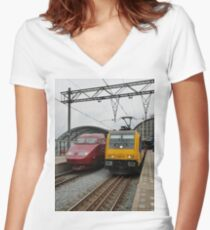 Dutch international trains Women's Fitted V-Neck T-Shirt
