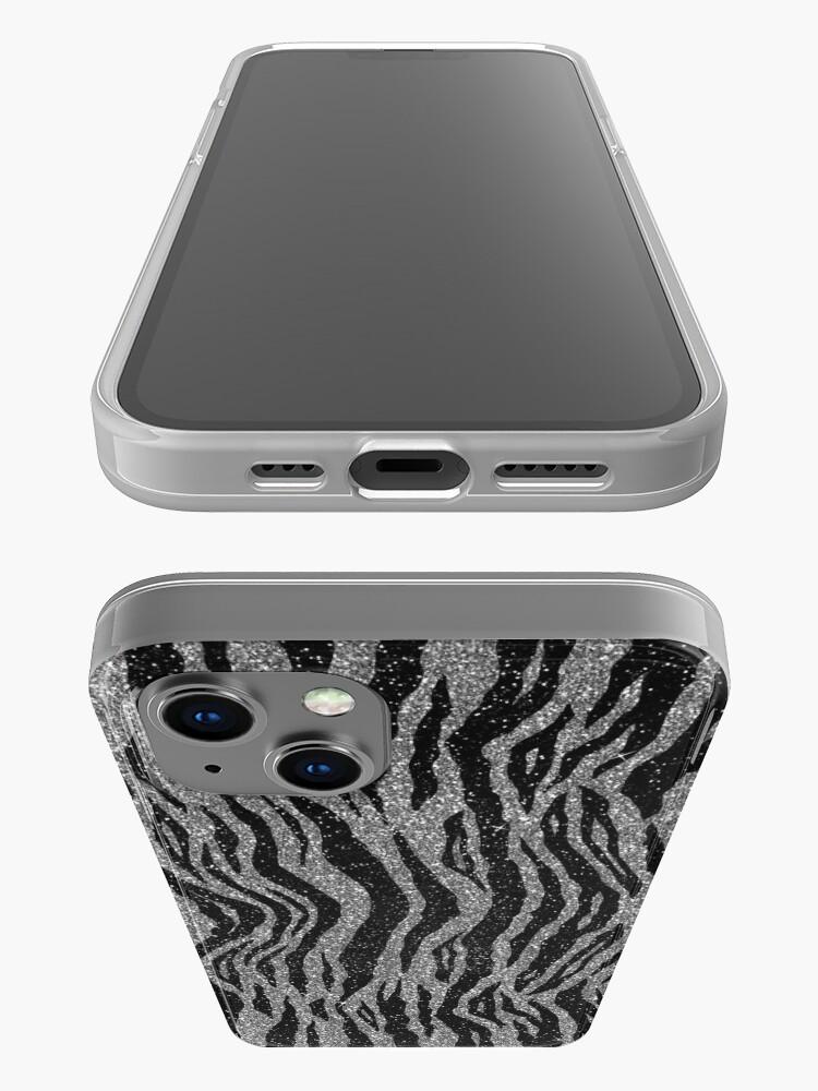 Alternate view of Black and Grey Zebra Print iPhone Case