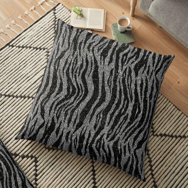 Black and Grey Zebra Print Floor Pillow