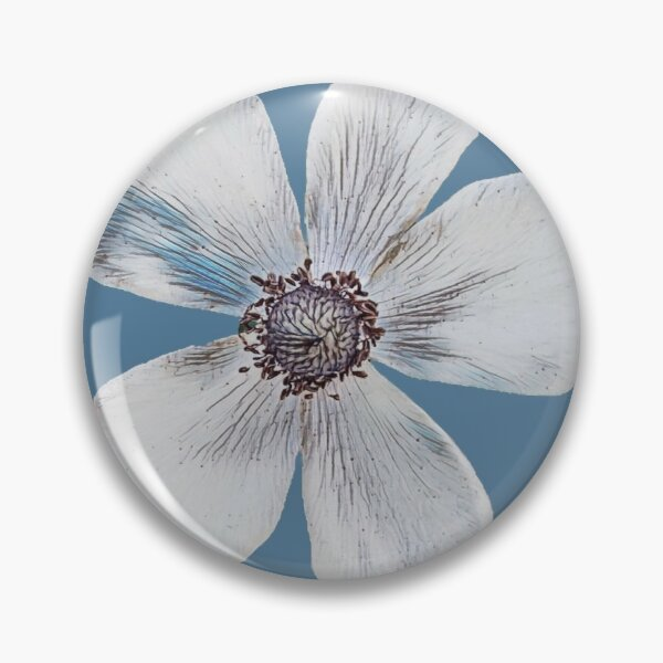White anemone Pin