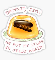 stapler in jello Sticker