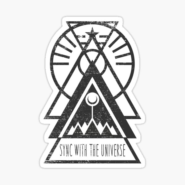 Sync with the Universe - Typography and Geometry Sticker