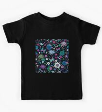 Japanese Garden - Pink, green, blue and white on Black - exotic floral pattern by Cecca Designs Kids Tee