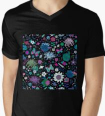 Japanese Garden - Pink, green, blue and white on Black - exotic floral pattern by Cecca Designs Men's V-Neck T-Shirt