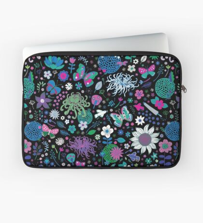 Japanese Garden - Pink, green, blue and white on Black - exotic floral pattern by Cecca Designs Laptop Sleeve