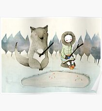 The Little Inuit Girl And The Wolf Poster