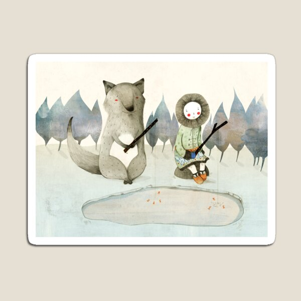 The Little Inuit Girl And The Wolf Magnet