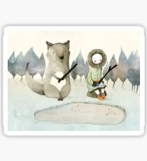 The Little Inuit Girl And The Wolf Sticker