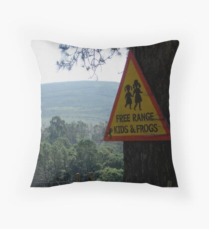 Dangerous kids and frogs Throw Pillow