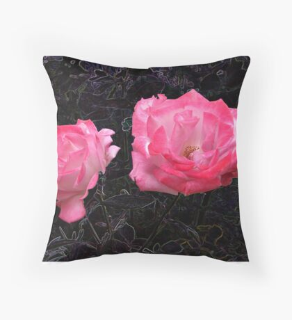 A rose in the gloom Throw Pillow