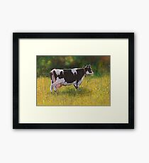 Holstein Dairy Cow in Oil Pastel Framed Print