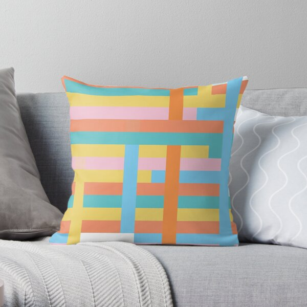 Multi Coloured Linear Geometric - Coral, Mustard Yellow, Pink  Throw Pillow