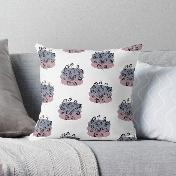 Black Pastel Leaf Print Throw Pillow