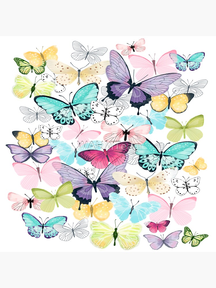 Purple, Pink, Blue, Green, Yellow Butterflies on White Background by WAHMTeam