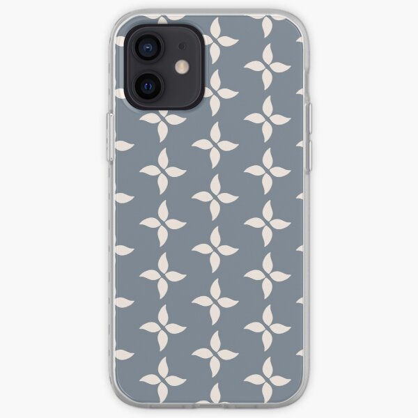 Cottagecore Blue Grey and White Abstract Flower iPhone Soft Case