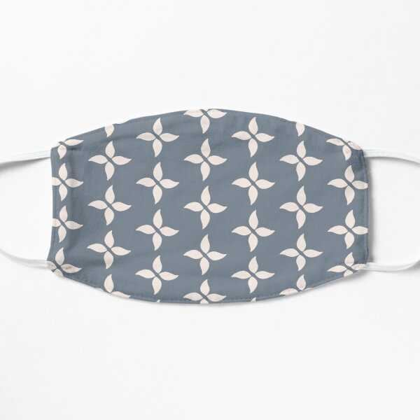 Cottagecore Blue Grey and White Abstract Flower Flat Mask
