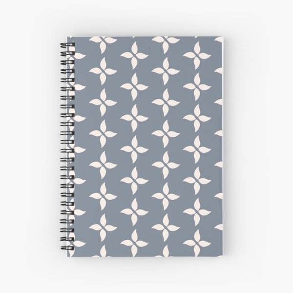 Cottagecore Blue Grey and White Abstract Flower Spiral Notebook