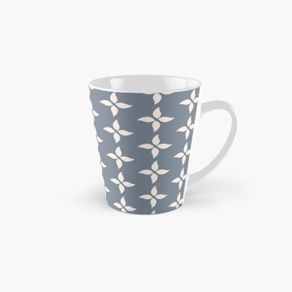 Cottagecore Blue Grey and White Abstract Flower Tall Mug
